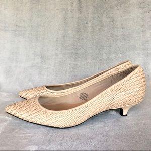 ISAAC MIZRAHI New York Woven leather kitten heels